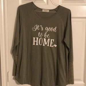 Olive graphic home tee.